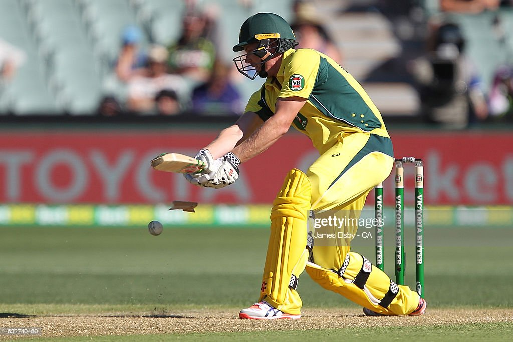 James Faulkner of Australia breaks his bat during game five of the One Day International series between Australia and Pakistan at Adelaide Oval on January 26, 2017 in Adelaide, Australia.