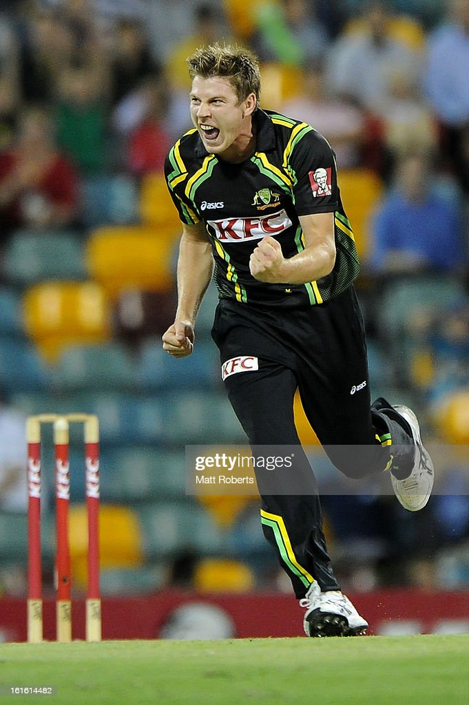 James Faulkner of Australia celebrates a wicket during the International Twenty20 match between Australia and the West Indies at The Gabba on February 13, 2013 in Brisbane, Australia.