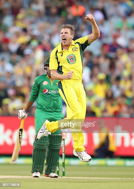James Faulkner of Australia celebrates after dismissing Sharjeel Khan of Pakistan during game two of the One Day International series between...