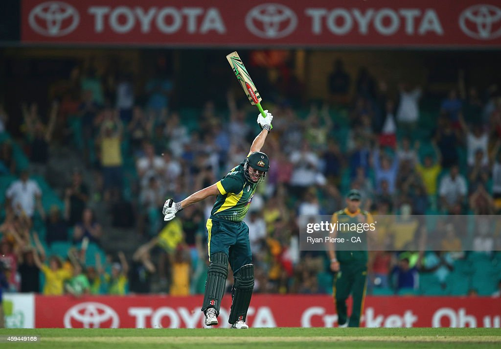 James Faulkner of Australia celebrates after hitting the winning runs during game five of the One Day International series between Australia and...