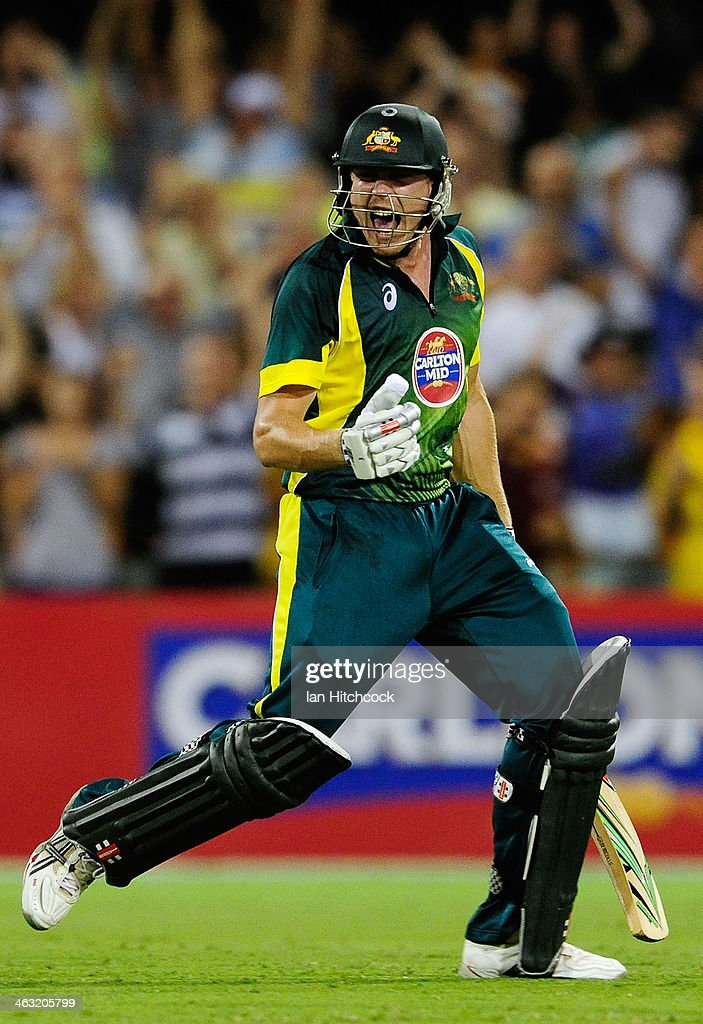 James Faulkner of Australia celebrates after scoring the winning runs during the second game of the One Day International Series between Australia...