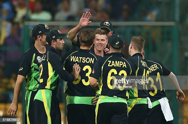 James Faulkner of Australia celebrates after taking a catch to dismiss Sabbir Rahman of Bangladesh off the bowling of Shane Watson of Australia...