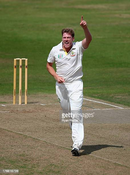 James Faulkner of Australia celebrates after taking the wicket of Luke Wells of England Lions during Day One of the Tour Match between England Lions...