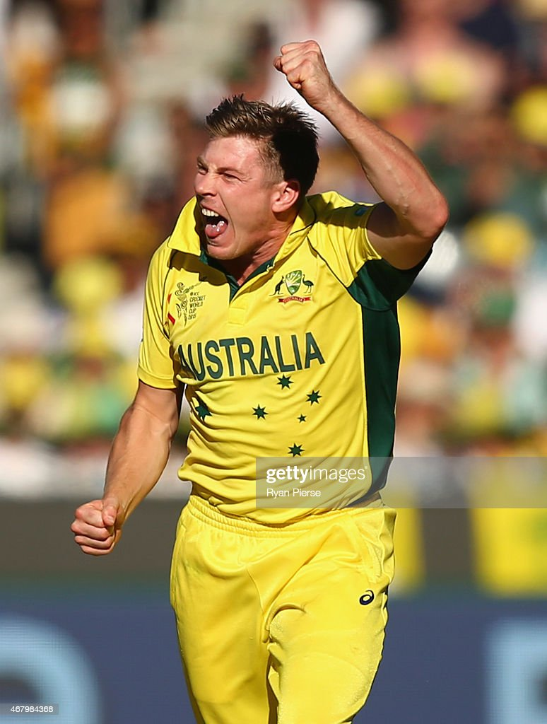 James Faulkner of Australia celebrates after taking the wicket of Ross Taylor of New Zealand during the 2015 ICC Cricket World Cup final match between Australia and New Zealand at Melbourne Cricket Ground on March 29, 2015 in Melbourne, Australia.