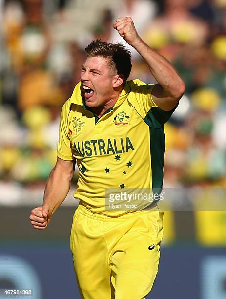 James Faulkner of Australia celebrates after taking the wicket of Ross Taylor of New Zealand during the 2015 ICC Cricket World Cup final match...