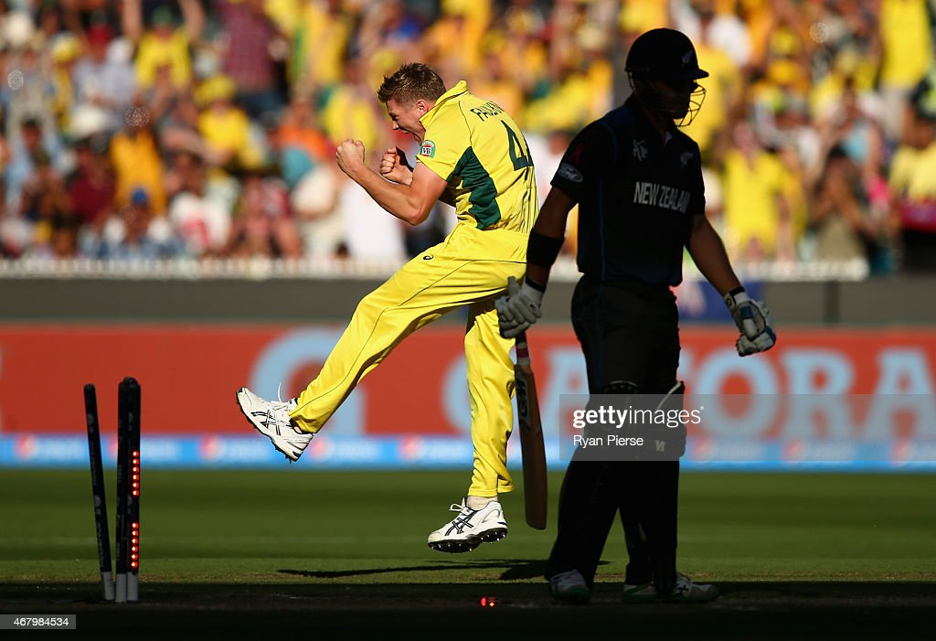 <a gi-track='captionPersonalityLinkClicked' href=/galleries/search?phrase=James+Faulkner+-+Cricketspeler&family=editorial&specificpeople=11388189 ng-click='$event.stopPropagation()'>James Faulkner</a> of Australia celebrates after taking the wicket of <a gi-track='captionPersonalityLinkClicked' href=/galleries/search?phrase=Corey+Anderson+-+Cricketspeler&family=editorial&specificpeople=12457249 ng-click='$event.stopPropagation()'>Corey Anderson</a> of New Zealand during the 2015 ICC Cricket World Cup final match between Australia and New Zealand at Melbourne Cricket Ground on March 29, 2015 in Melbourne, Australia.