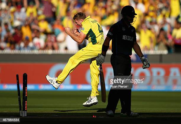 James Faulkner of Australia celebrates after taking the wicket of Corey Anderson of New Zealand during the 2015 ICC Cricket World Cup final match...