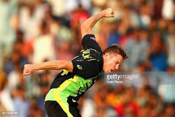 James Faulkner of Australia celebrates after taking the wicket of Sharjeel Khan of Pakistan during the ICC WT20 India Group 2 match between Pakistan...