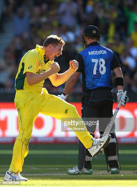 James Faulkner of Australia celebrates getting the wicket of Corey Anderson of New Zealand during the 2015 ICC Cricket World Cup final match between...