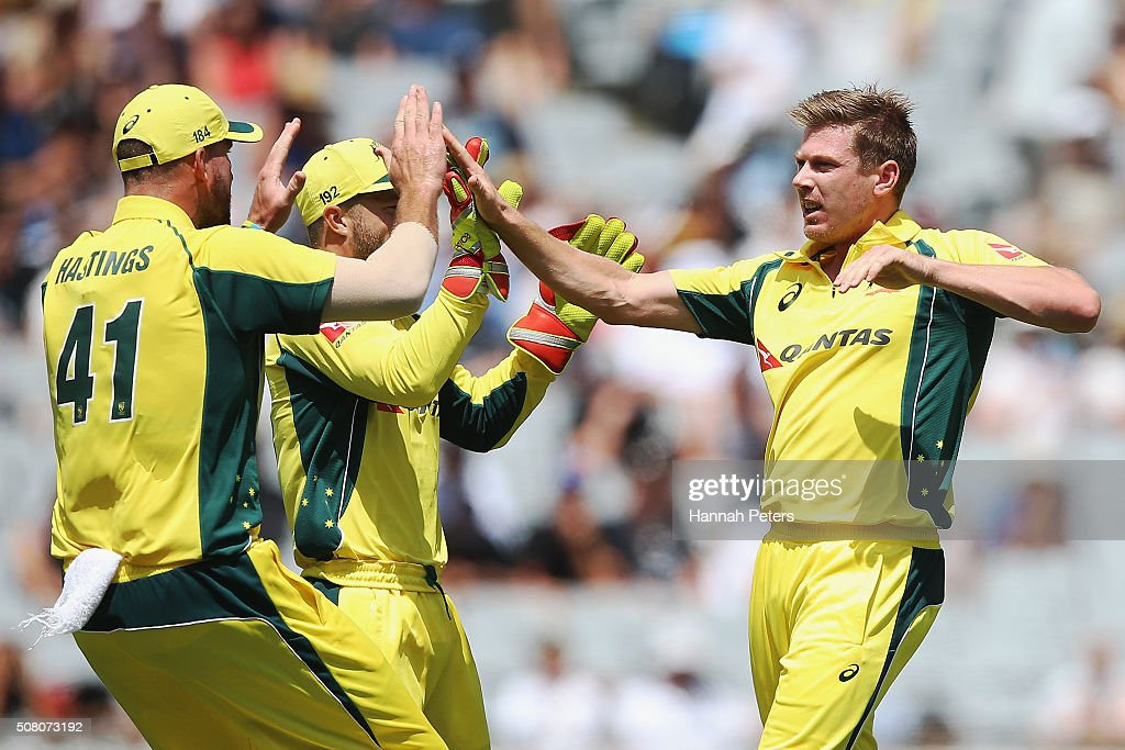 <a gi-track='captionPersonalityLinkClicked' href=/galleries/search?phrase=James+Faulkner+-+Cricketspeler&family=editorial&specificpeople=11388189 ng-click='$event.stopPropagation()'>James Faulkner</a> of Australia celebrates the wicket of Brendon McCullum of the Black Caps during the One Day International match between New Zealand and Australia at Eden Park on February 3, 2016 in Auckland, New Zealand.