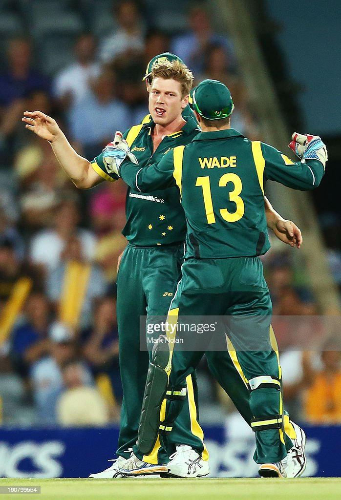James Faulkner of Australia celebrates the wicket of Darren Bravo of the West Indies during the Commonwealth Bank One Day International Series between Australia and the West Indies at Manuka Oval on February 6, 2013 in Canberra, Australia.