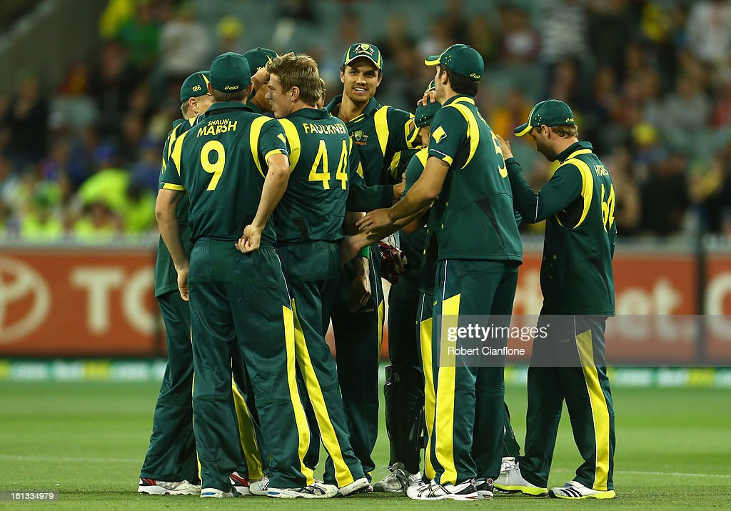 James Faulkner of Australia celebrates the wicket of Keiron Pollard of the West Indies with team mates during game five of the Commonwealth Bank International Series between Australia and the West Indies at the Melbourne Cricket Ground on February 10, 2013 in Melbourne, Australia.