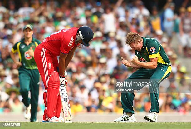 James Faulkner of Australia celebrates the wicket of Ravi Bopara of England during game three of the One Day International Series between Australia...