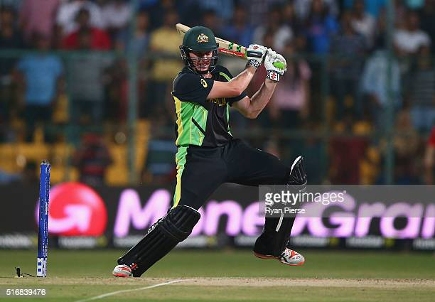 James Faulkner of Australia hits the winning runs during the ICC World Twenty20 India 2016 Super 10s Group 2 match between Australia and Bangladesh...