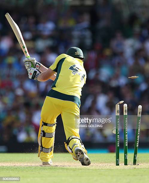 James Faulkner of Australia is bowled out from the Indian bowling during the fourth oneday international cricket match between India and Australia in...