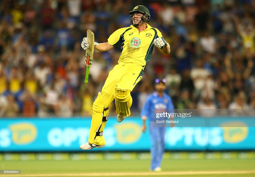 <a gi-track='captionPersonalityLinkClicked' href=/galleries/search?phrase=James+Faulkner+-+Cricketspeler&family=editorial&specificpeople=11388189 ng-click='$event.stopPropagation()'>James Faulkner</a> of Australia leaps in the air as he celebrates hitting the winning runs during game three of the One Day International Series between Australia and India at the Melbourne Cricket Ground on January 17, 2016 in Melbourne, Australia.