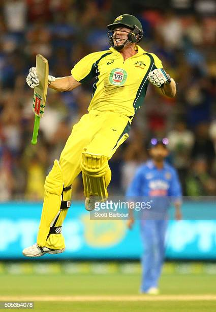 James Faulkner of Australia leaps in the air as he celebrates hitting the winning runs during game three of the One Day International Series between...