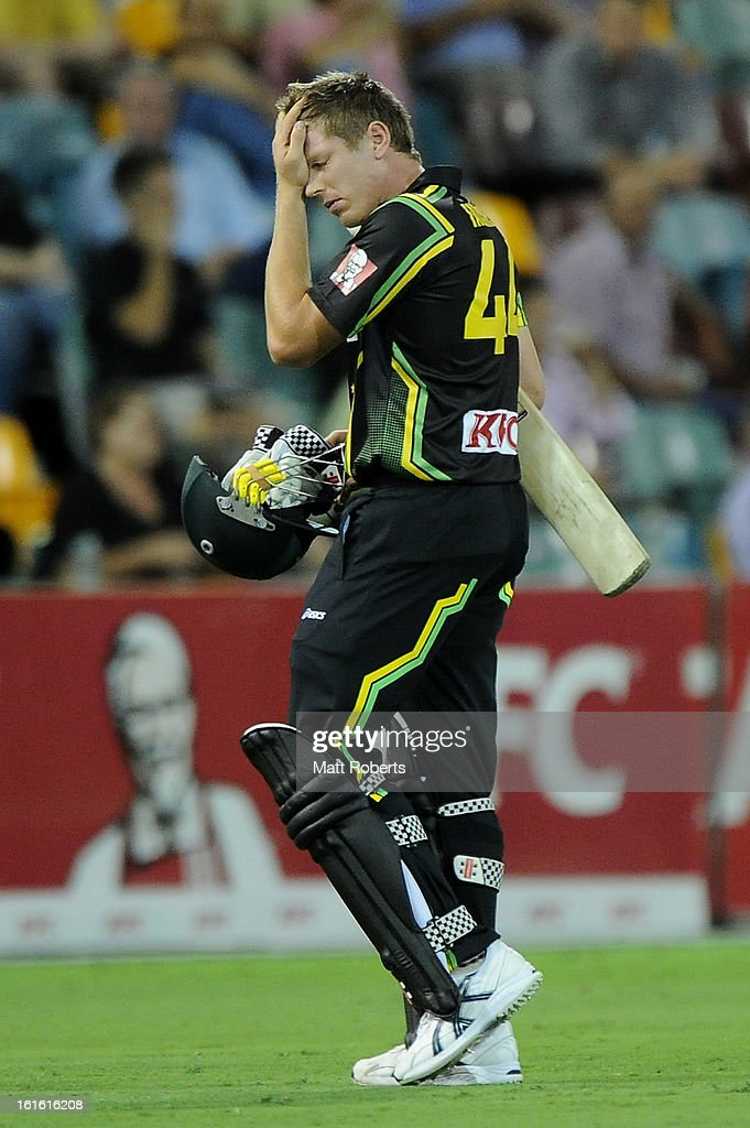 James Faulkner of Australia looks dejected as he leaves the field during the International Twenty20 match between Australia and the West Indies at The Gabba on February 13, 2013 in Brisbane, Australia.
