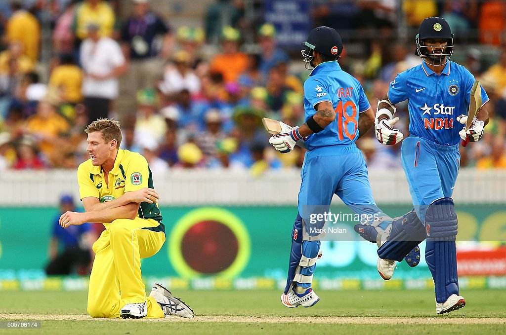 <a gi-track='captionPersonalityLinkClicked' href=/galleries/search?phrase=James+Faulkner+-+Cricketer&family=editorial&specificpeople=11388189 ng-click='$event.stopPropagation()'>James Faulkner</a> of Australia reacts after a delivery during the Victoria Bitter One Day International match between Australia and India at Manuka Oval on January 20, 2016 in Canberra, Australia.