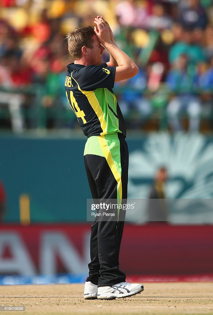 <a gi-track='captionPersonalityLinkClicked' href=/galleries/search?phrase=James+Faulkner+-+Cricketer&family=editorial&specificpeople=11388189 ng-click='$event.stopPropagation()'>James Faulkner</a> of Australia reacts while bowling during the ICC World Twenty20 India 2016 Super 10s Group 2 match between Australia and New Zealand at HPCA Stadium on March 18, 2016 in Dharamsala, India.