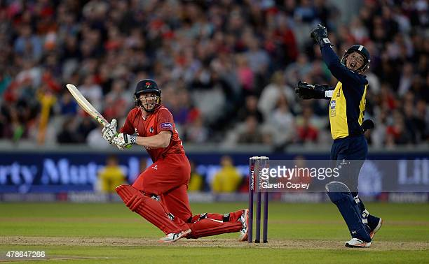 James Faulkner of Lancashire bats watched by Birmingham Bears wicketkeeper Tim Ambrose during the NatWest T20 Blast match between Lancashire Lighting...