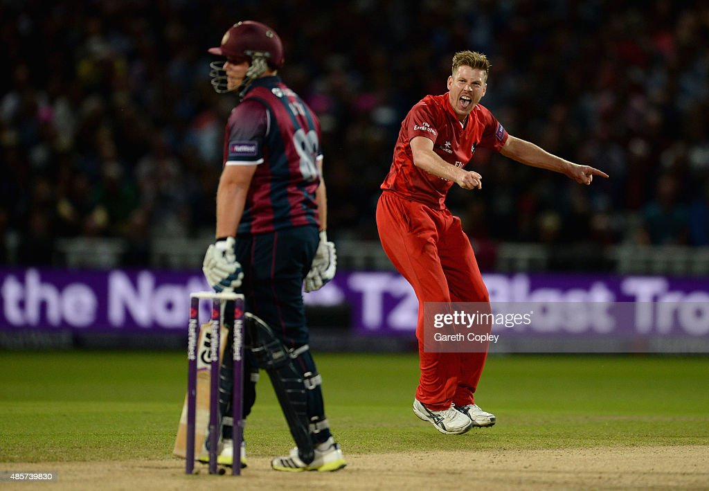 <a gi-track='captionPersonalityLinkClicked' href=/galleries/search?phrase=James+Faulkner+-+Cricketspeler&family=editorial&specificpeople=11388189 ng-click='$event.stopPropagation()'>James Faulkner</a> of Lancashire celebrates dismissing <a gi-track='captionPersonalityLinkClicked' href=/galleries/search?phrase=Richard+Levi&family=editorial&specificpeople=8334116 ng-click='$event.stopPropagation()'>Richard Levi</a> Of Northamptonshire during the NatWest T20 Blast Final between Lancashire Lighting and Northamptonshire Steelbacks at Edgbaston on August 29, 2015 in Birmingham, England.