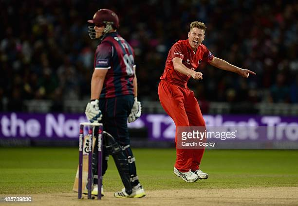 James Faulkner of Lancashire celebrates dismissing Richard Levi Of Northamptonshire during the NatWest T20 Blast Final between Lancashire Lighting...