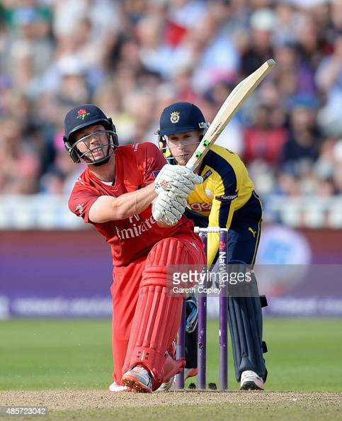 James Faulkner of Lancashire hits out for six runs during the NatWest T20 Blast Semi Final between Hampshire Hawks and Lancashire Lighting at...
