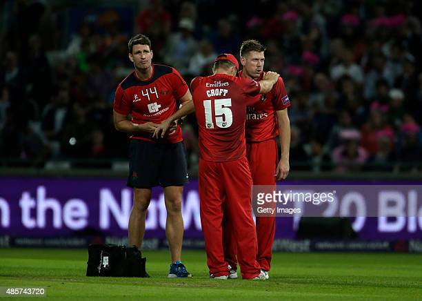 James Faulkner of Lancashire receives treatment to his hand during the NatWest T20 Blast Final between Lancashire Lightning and Northamptonshire...