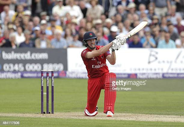 James Faulkner of Lancashire scores runs during the NatWest T20 Blast quarter final match between Kent Spitfires and Lancashire Lightning at The...