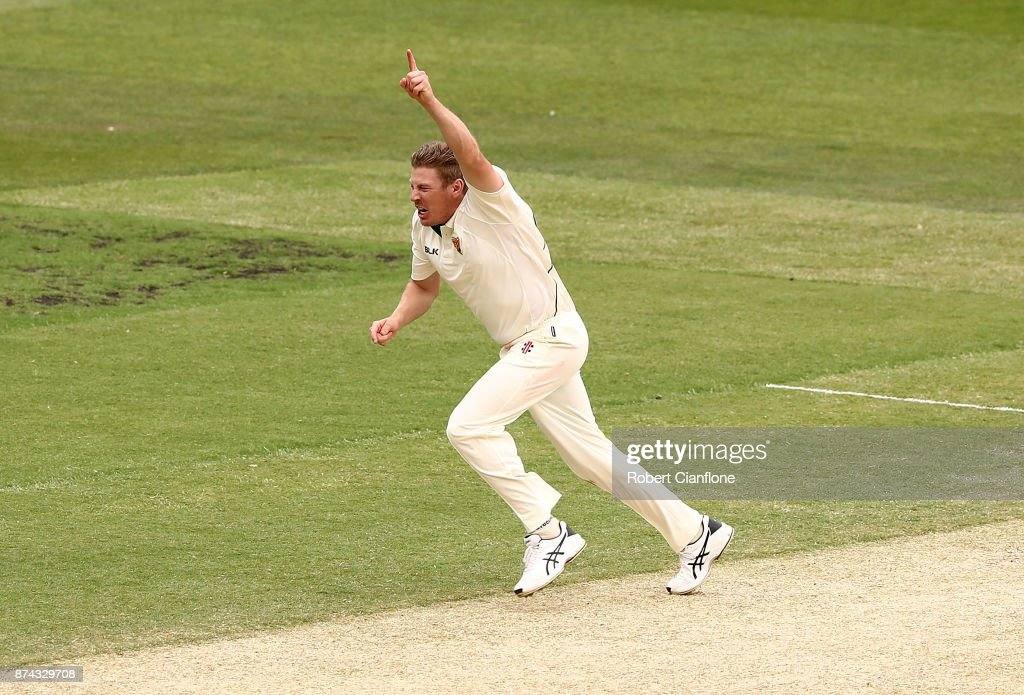 James Faulkner of Tasmania celebrates taking the wicket of Marcus Harris of Victoria during day three of the Sheffield Shield match between Victoria and Tasmania at Melbourne Cricket Ground on November 15, 2017 in Melbourne, Australia.