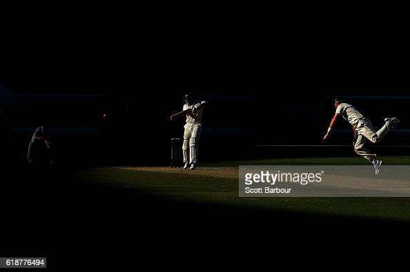 James Faulkner of Tasmania plays a shot of the bowling of Daniel Christian of Victoria during day four of the Sheffield Shield match between Victoria...