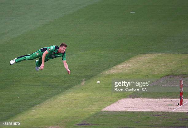 James Faulkner of the Melbourne Stars throws the ball at the stumps during the Big Bash League match between the Melbourne Stars and the Melbourne...