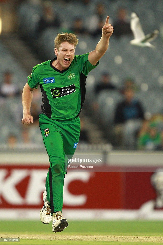 James Faulkner of the Stars celebrates the wicket of Gurinder Sandhu of the Thunder during the Big Bash League match between the Melbourne Stars and the Sydney Thunder at Melbourne Cricket Ground on January 8, 2013 in Melbourne, Australia.