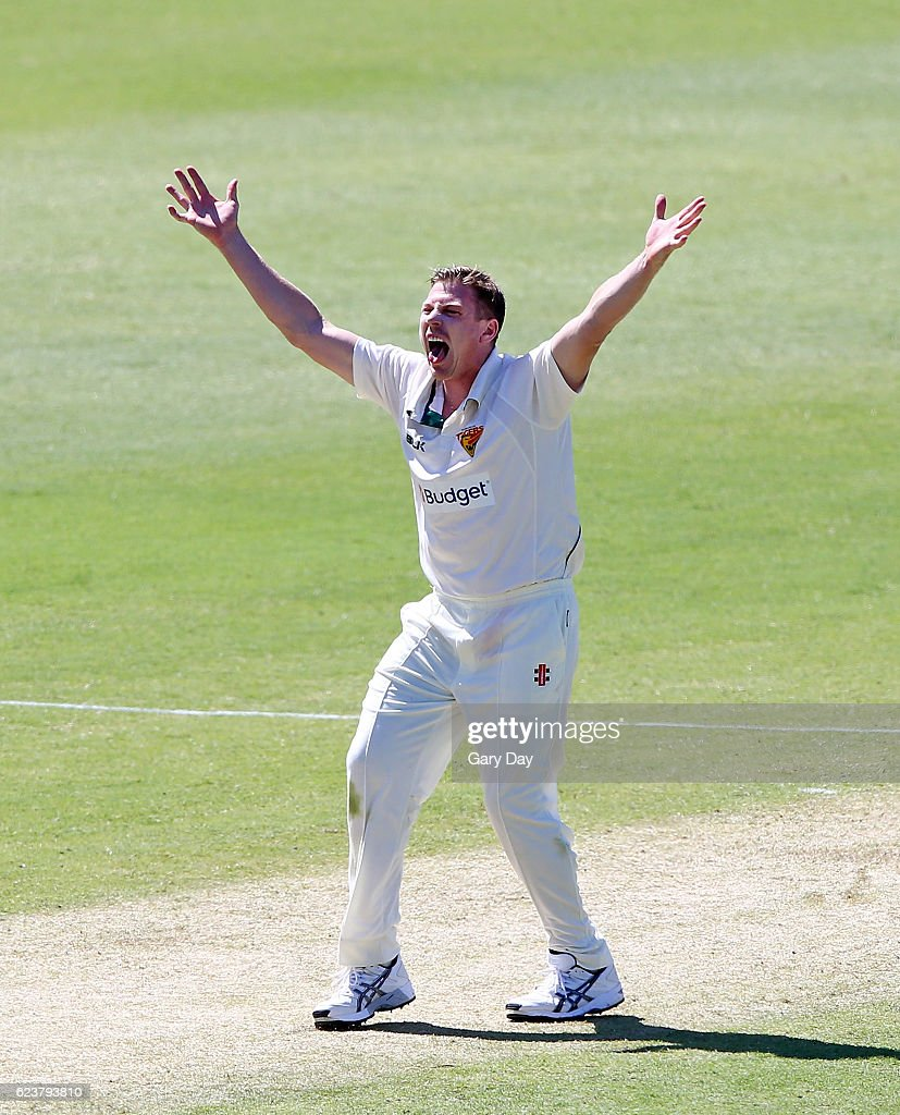 James Faulkner of the Tigers appeals during day one of the Sheffield Shield match between Western Australia and Tasmania at WACA on November 17, 2016 in Perth, Australia.