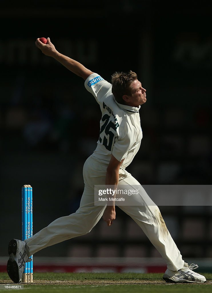 James Faulkner of the Tigers bowls during day three of the Sheffield Shield final between the Tasmania Tigers and the Queensland Bulls at Blundstone Arena on March 24, 2013 in Hobart, Australia.