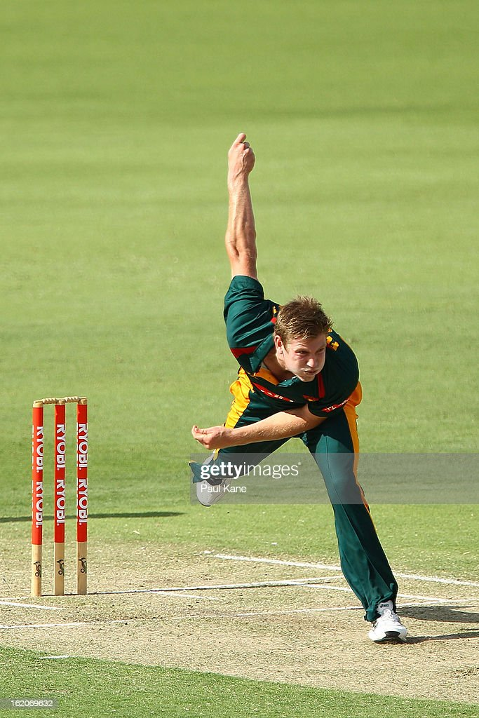 James Faulkner of the Tigers bowls during the Ryobi One Day Cup match between the Western Australia Warriors and the Tasmanian Tigers at the WACA on February 19, 2013 in Perth, Australia.