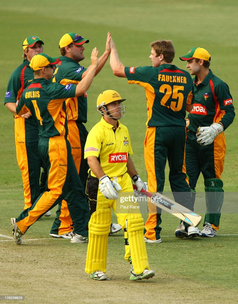 James Faulkner of the Tigers celebrates with team mates after dismissing Liam Davis of the Warriors during the Ryobi One-Day Cup match between the West Australian Warriors and the Tasmanian Tigers at the WACA on October 16, 2011 in Perth, Australia.
