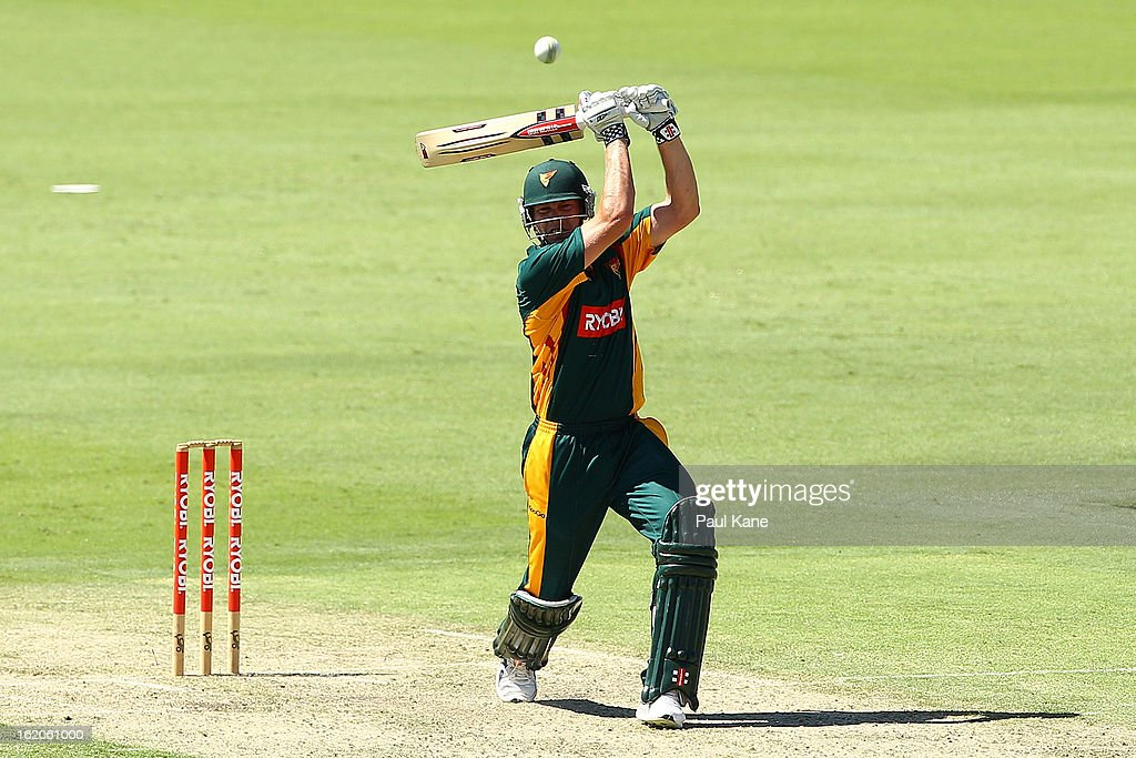 James Faulkner of the Tigers hits out during the Ryobi One Day Cup match between the Western Australia Warriors and the Tasmanian Tigers at the WACA on February 19, 2013 in Perth, Australia.