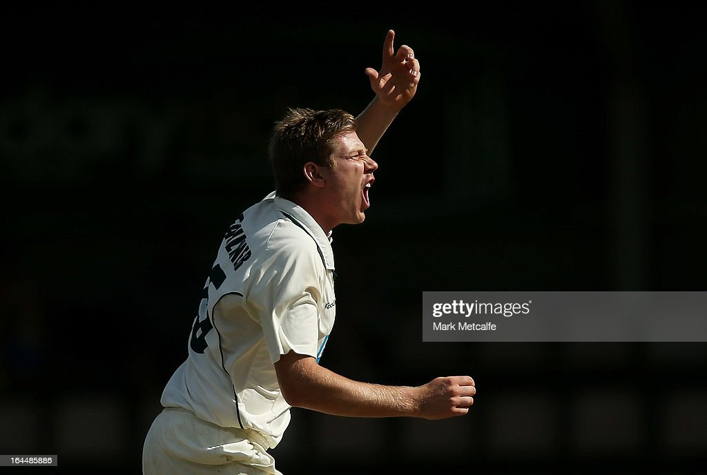 James Faulkner of the Tigers reacts to an unsuccessful appeal during day three of the Sheffield Shield final between the Tasmania Tigers and the Queensland Bulls at Blundstone Arena on March 24, 2013 in Hobart, Australia.