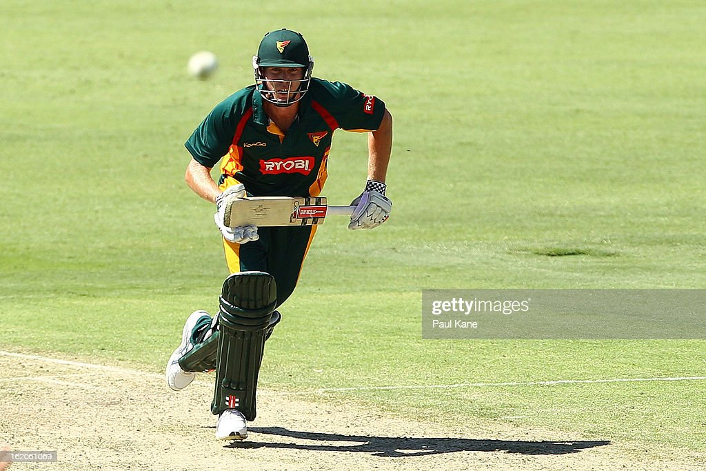 James Faulkner of the Tigers takes a quick single during the Ryobi One Day Cup match between the Western Australia Warriors and the Tasmanian Tigers at the WACA on February 19, 2013 in Perth, Australia.
