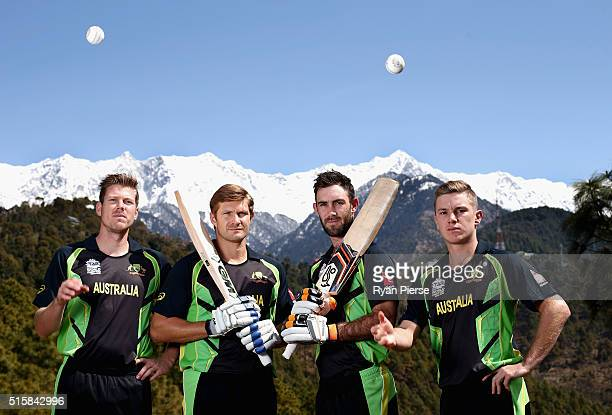 James Faulkner Shane Watson Glenn Maxwell and Adam Zampa of Australia pose in front of the Himalayas during an Australian portrait session ahead of...