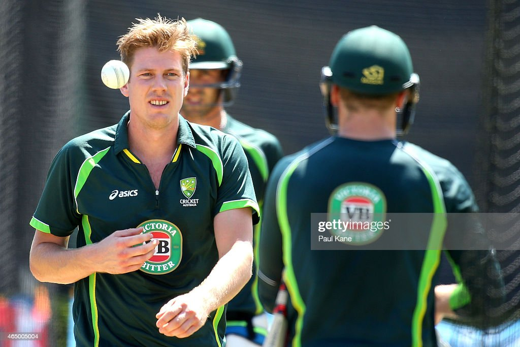 <a gi-track='captionPersonalityLinkClicked' href=/galleries/search?phrase=James+Faulkner+-+Cricketer&family=editorial&specificpeople=11388189 ng-click='$event.stopPropagation()'>James Faulkner</a> walks back to bowl during an Australian nets session at WACA on March 3, 2015 in Perth, Australia.