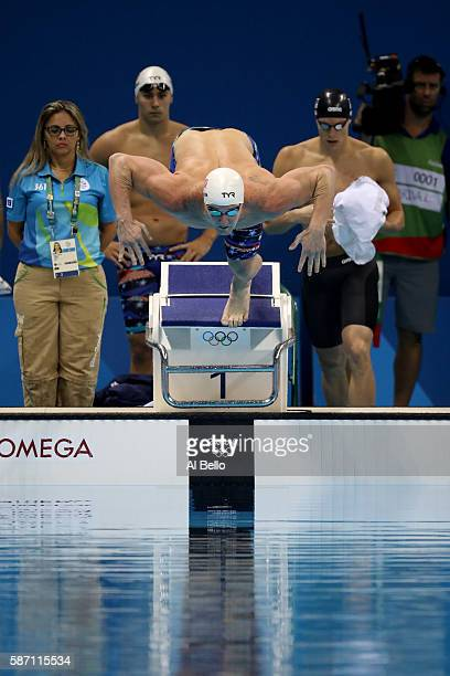 James Feigen of the United States competes in heat two of the Men's 4 x 100m Freestyle Relay on Day 2 of the Rio 2016 Olympic Games at the Olympic...