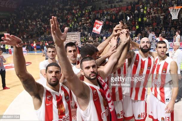 James Feldeine #14 Branko Lazic #10 Pero Antic #12 Ognjen Dobric #13 of Crvena Zvezda mts Belgrade celebrate during the 2017/2018 Turkish Airlines...