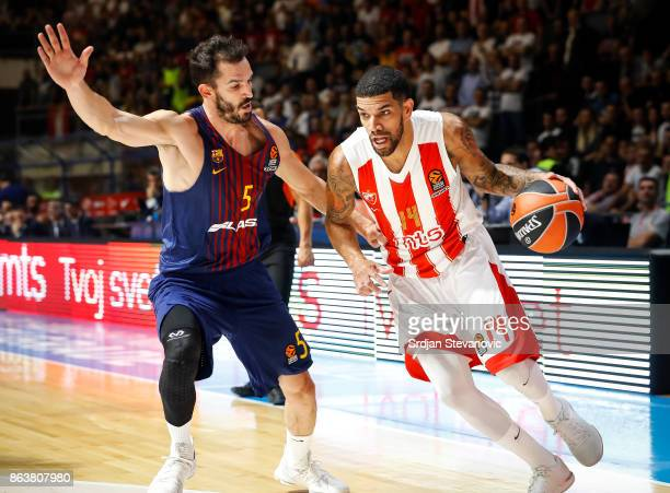 James Feldeine of Crvena Zvezda in action against Pau Ribas of Barcelona during the 2017/2018 Turkish Airlines EuroLeague Regular Season game between...