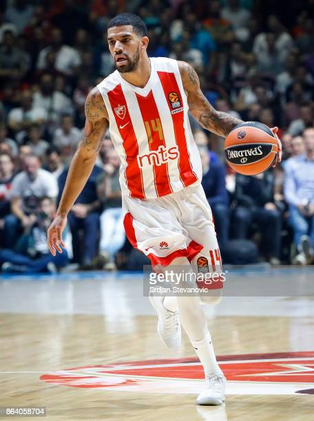 James Feldeine of Crvena Zvezda in action during the 2017/2018 Turkish Airlines EuroLeague Regular Season game between Crvena Zvezda mts Belgrade and...