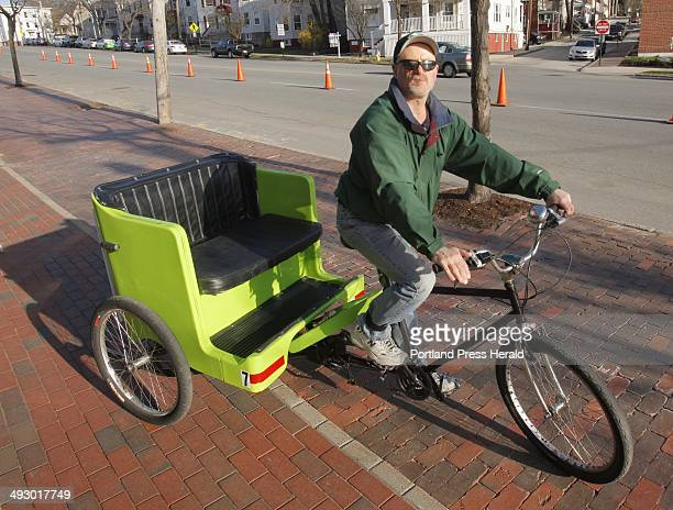 James Fereira is the driver of Portland's first Pedicab He is photographed on his Pedicab outside of Hadlock Field on Friday April 13 2012 A new...