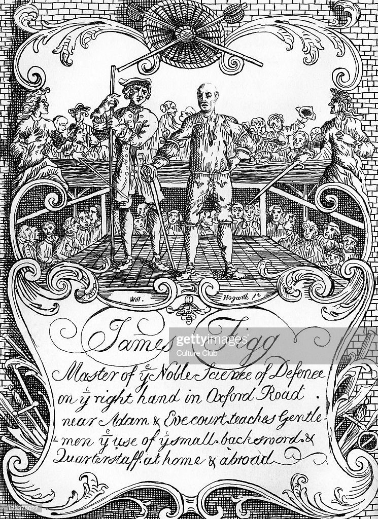 James Figg advertisment illustrated by William Hogarth c 1729/30 for instructor in swordsmanship Caption Master of the Noble Science of Defense on...
