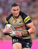 James FisherHarris of the Panthers runs with the ball during the round 20 NRL match between the Brisbane Broncos and the Penrith Panthers at Suncorp...